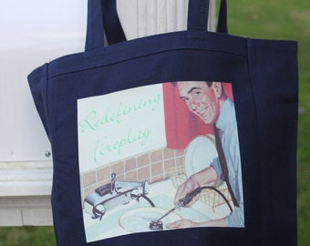 Foreplay comical canvas tote