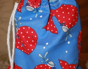 Whales small toy bag tote drawstring