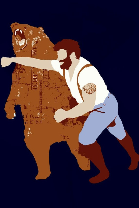 Man Punching Bear Men's X-Large