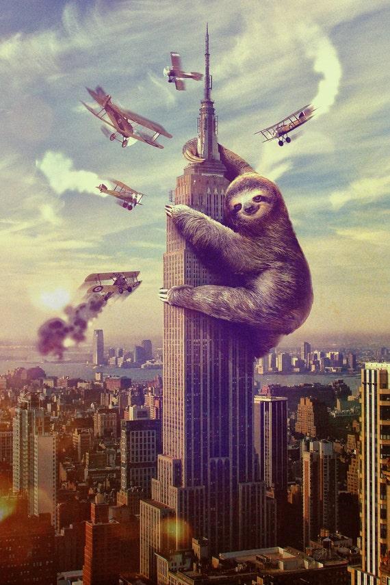 "Slothzilla, Sloth Climbing Empire State Building Print 18"" x 24"""