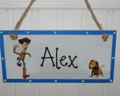 Personalized Toy Story Sign for Door or Wall - Woody, Buzz Lightyear and More, Room Wood Plaque DIsney Pixar