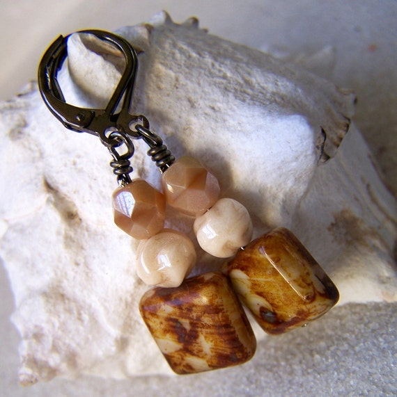 Caramel and Cream Series - Earrings with Square - Last pair