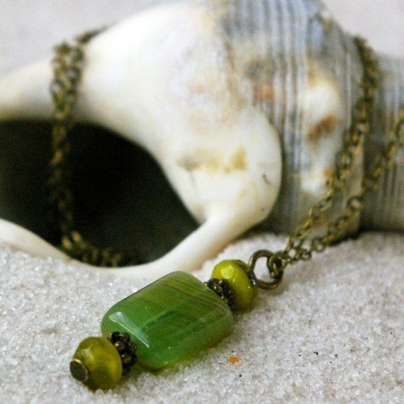 October Splendor Series - Brass Necklace with Green Bead