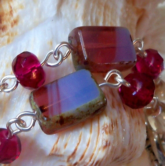 Cranberry and Champagne Chained Bracelet with Toggle Clasp