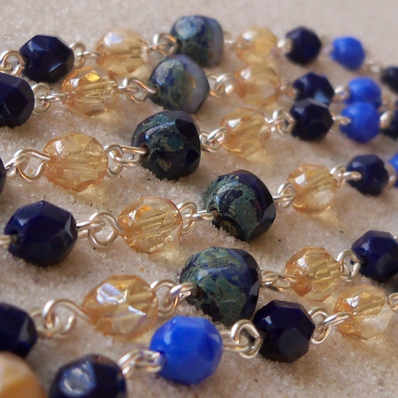 Very Long Navy Blue and Topaz Necklace