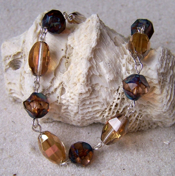 SALE: Topaz Brown and Champagne Glass Beaded Bracelet