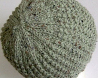 Lady's Hat, Hand Knit, Light Fern Green Fleck, One Size Fits Most