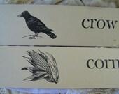 8 Vintage Long Flash Cards...CROW...CORN