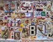 Large Assortment of Bird Supplies, paper, clips, COLLAGE, Tags, ribbon, beads