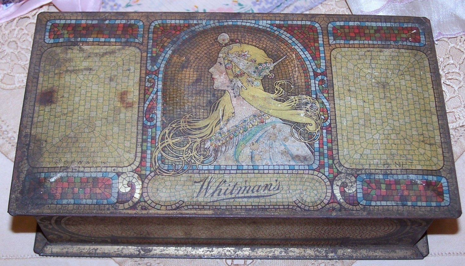 Antique Metal Whitmans Candy Box With Vintage Handkerchiefs
