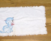 Vintage Kitchen Tea Towel/Linen with Hand Painted Blue Cat Detailing.