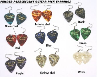 Pearlescent guitar pick earrings--many colors to choose from!