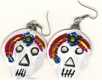 White Sugar Skull Earrings---SALE!!!
