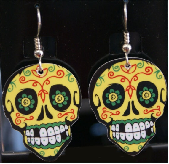 Yellow Sugar Skull guitar pick earrings