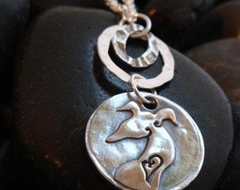 Greyhound Pendant - Greyhound Jewelry -Simply Love Mod - Fine Silver