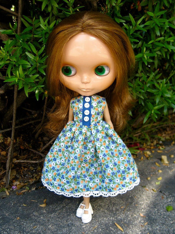 Flower Fields Dress and Barrettes for Blythe Doll