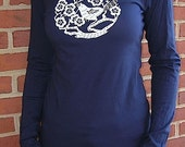 SALE - Bird Among the Cherry Blossoms on Navy Long Sleeve - Extra Large