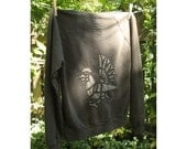 Rooster Hand-Stitched Army Green Women's Hoodie size XL
