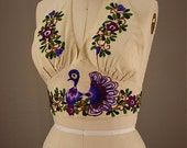 1970s peacock halter top embroidered purple cotton size 32 small 70s hippie boho