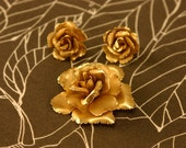1960s engraved Giovanni set earrings and brooch muted matte gold roses
