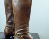 Chocolate brown Ferragamo Boots size 7 or 37 1/2 stacked cuban heels Designer 1970s leather riding campus