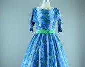 resreved for darkington 1950s floral chiffon garden dress size small Full skirt Sheer Mad Men party VLV summer 50s Bridesmaid