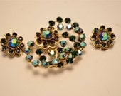Emerald green jewelry  demi parure  green rhinestone set Earring and brooch A B crystals