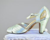 1930s silk heels / Vintage wedding / 30s shoes