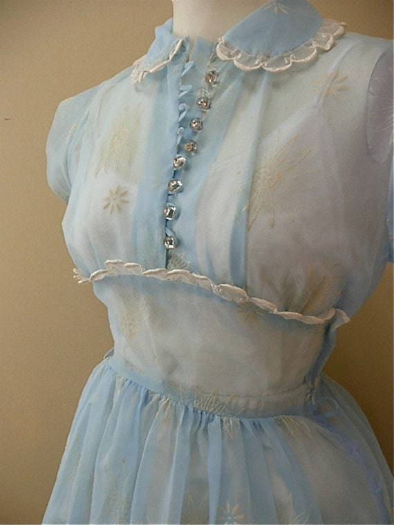1940s baby blue sheer flocked dress size x-small 40s sheer day rockabilly swing bridesmaid