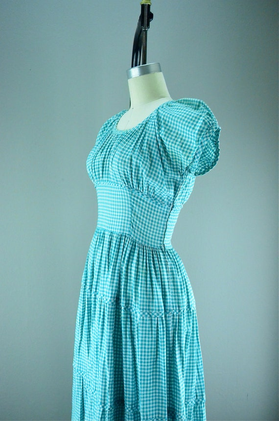Aqua gingham late 1930s cotton day dress Easter 30s summer Late 1940s tiered puffed shoulders