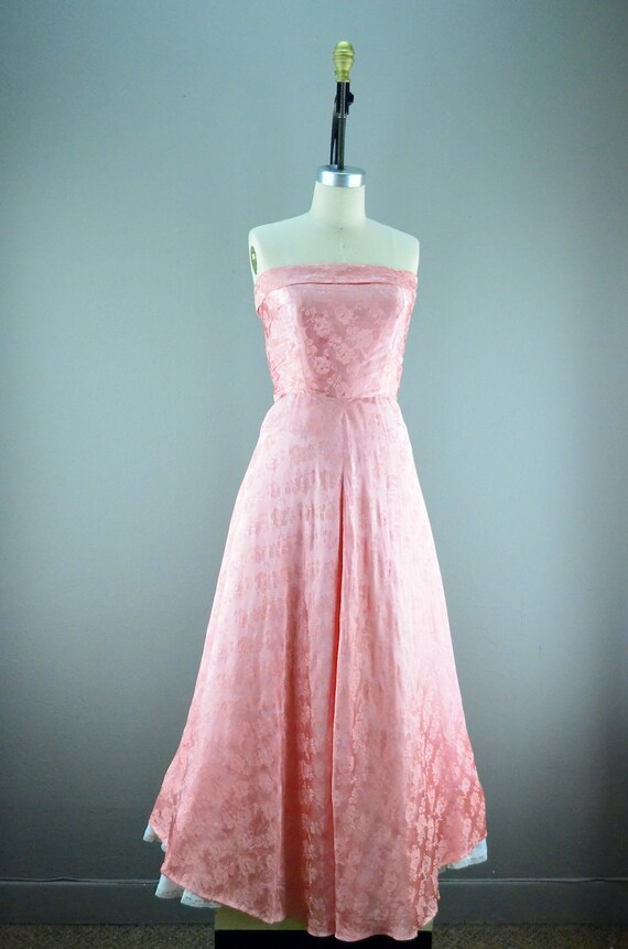1950s full length prom dress size medium coral pink Strapless 50s evening gown Bridesmaid
