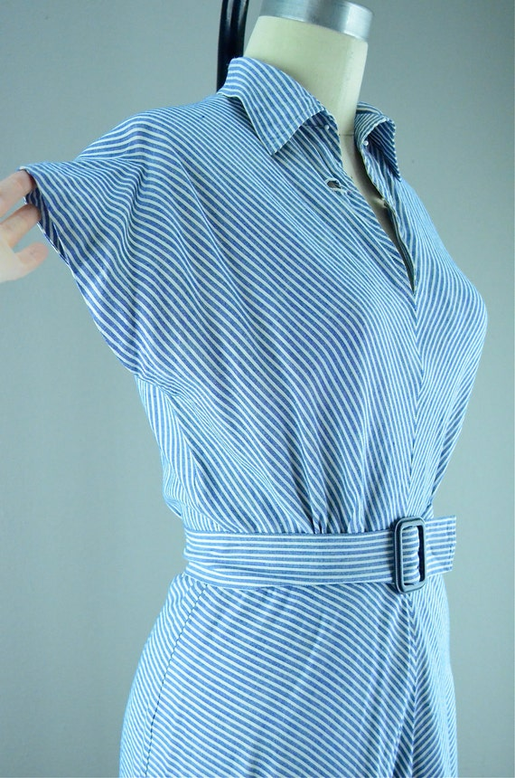 1940s pin stripe cotton day dress size medium 40s blue striped Swing summer casual Lindy VLV