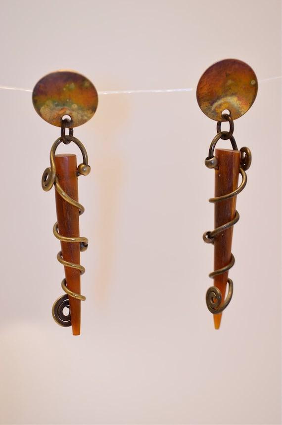Unique artisan brass and horn earrings pierced swirl amber OOAK long post back