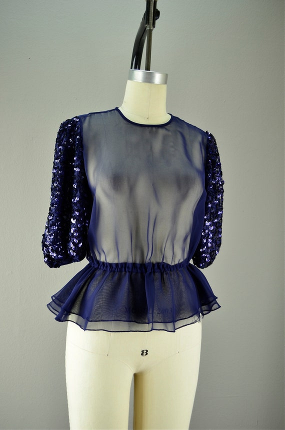 Adorable 80s peplum blouse size medium Sequin puff sleeves Navy blue sheer Open back 1980s STATEMENT
