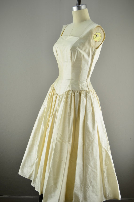 1950s silk wedding dress /  50s vintage wedding dress / tea length wedding dress