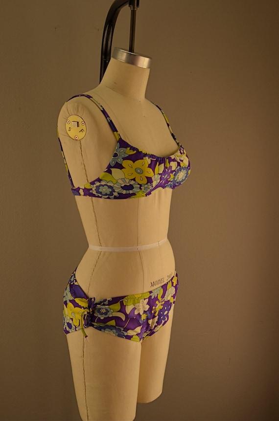 1960s bright floral bikini 60s 2 piece swimsuit low rise Purple psychedelic op art flower print bathing suit