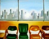 Detroit Skyline  Sunrise - Origingal Oil Painting - 17.5 x 24 inches