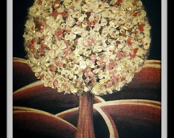 Golden Tree - Original Acrylic Painting - 12 by 16 inches, nature, landscape