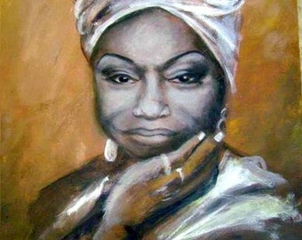 Nina Simone - 14 by 18 Original Acrylic Painting