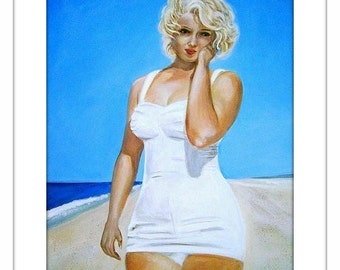 Marilyn Monroe - Large Original Acrylic Painting - 24 by 18 inches, sea, ocean, water, blue, sky, beach, summer, modern, 50s, 60s, art