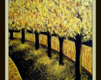 Golden Trees - Original Acrylic Painting 12 by 16 inches