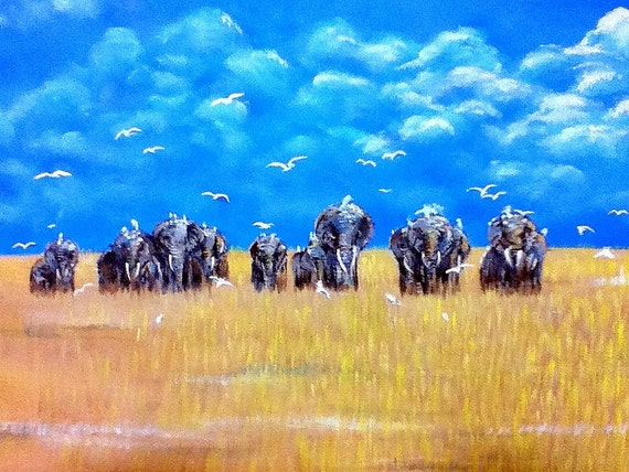Elephant Sky - Original Acrylic Painting - 16 by 20 inch. - Savanna, Safari, Africa, Minimalist