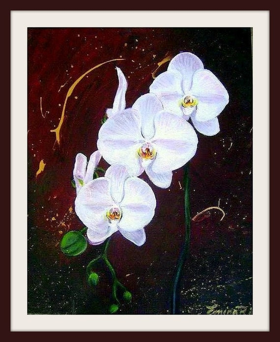 White Orchid - 14 by 11 inches - Original Acrylic Painting