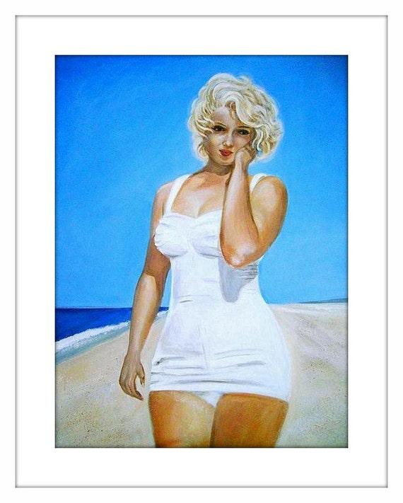 Marilyn Monroe - Large Original Acrylic Painting - 24 by 18 inches, sea, ocean, water, blue, sky, beach, summer, modern, 50s, 60s, art