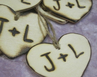 "2"" Rustic Wedding 25 wood Heart Favor Tag Charms Personalized Initials Bride Groom wood burned Engraved"