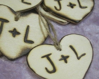 "25 wooden Heart Favor 2"" Rustic Wedding Tag Charms Personalized Initials Bride Groom woodburned hearts for favors engraved into wood"