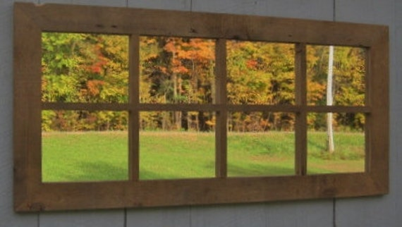 Extra Large Rustic Old Barnwood Window Pane Mirror Primitive