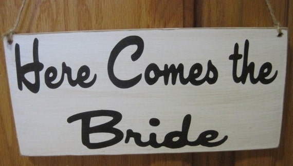 Rustic Wedding Here Comes the Bride Sign Ring Bearer Flowergirl Photo Prop