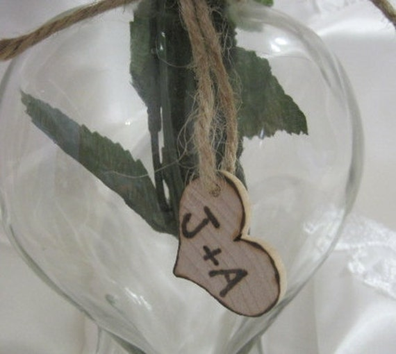 25 Rustic Wedding Woodburned Heart Favor Tags Charms Personalized Initials Bride Groom