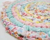 Pastel Pleasures Rag Rug POTHOLDER / Trivet - Vintage Style (Treasury Item)